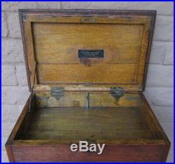 C. E. Jennings Antique Oak Wood Mechanics Tool Chest, Jewelry Box