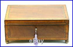 C1800, Superb Antique Georgian Crossbanded Satinwood Ebony Jewellery Sewing Box