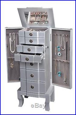 CTE 1501 SILVER MODEN JEWELRY ARMOIRE / JEWELRY BOX (6 drawers with lock)