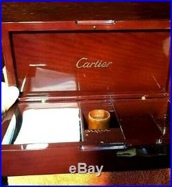 Cartier Jewelry Box Wood With Accessories Magnifying lenses + Hanky RARE MINT