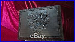 Casket jewelry box Souvenir Gift Carved Wood, made from bog oak. RARE