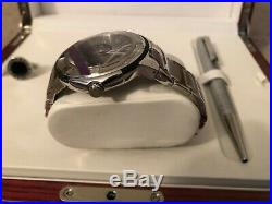 Charriol Men's Swiss Stainless Steel Watch Cufflinks & Pen in Wood Jewelry Box