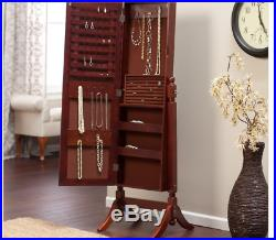 Cherry Cheval Mirror Jewelry Armoire Box Holder Chest Cabinet Free Stand Wood