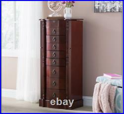 Cherry Jewelry Armoire Free Standing Cabinet Vintage Chest Large Organizer Box