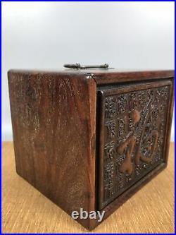 China Antique Suitcase Treasure Box Wood Chest Jewelry Box Storage Statue Hidden