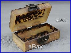China rare old antique Tortoise shell Jewelry box Bronze lock