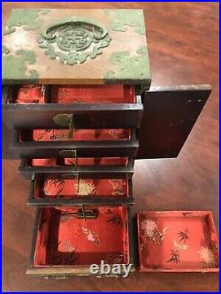Chinese Antique Shibayama Inlay Wood Jewelry Box Drawers Chest Lacquer Rose OLD