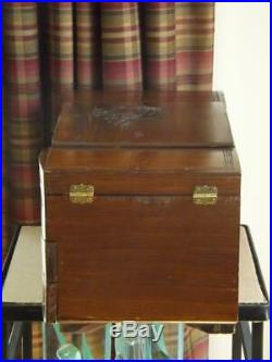 Chinese Carved Wood Jewelry Box 8 Compartments & Mirror Large Accordion