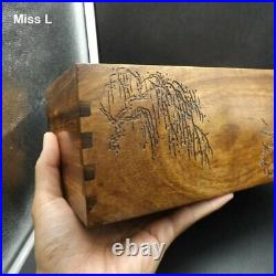 Chinese Culture Brain Teaser Puzzle Box Elm Wooden Ancient Jewelry Secret Box