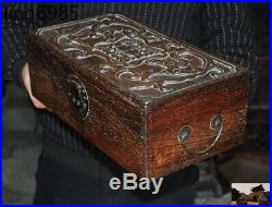 Chinese Huanghuali Wood Carved Boutique double Dragon storage boxes Jewelry Box