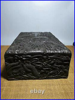 Chinese Qing Dynasty antique Black Boxwood wood Jewelry box Storage Box EVO