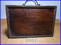 Chinese Qing Dynasty antique Yellow Boxwood wood Jewelry box Storage Box EVO