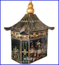 Chinoiserie Large Pagoda Shaped Box w Hand Painted Asian Scenes Large EUC RARE
