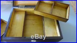 Circa 1850 WOOD Dresser Jewelry Trinket Box Lifting Trays & SECRET DRAWERS