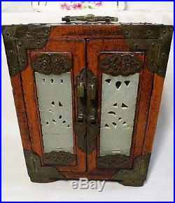 Collectable Chinese hard wood carved Jade brass inlay jewellery jewellery box