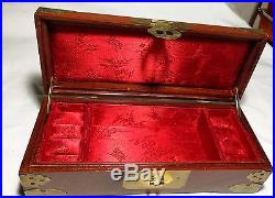 Collectable Chinese hard wood carved Jade brass inlay jewellery trinket box+lock