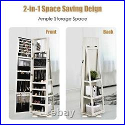 Costway 360° Rotatable Jewelry Cabinet Armoire 2-in-1 Lockable Mirrored White