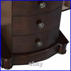 Costway Wood Jewelry Cabinet Armoire Box Storage Chest Stand Organizer Necklace