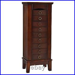Costway Wood Jewelry Cabinet Armoire Storage Box Chest Stand Organizer Necklace