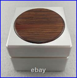Custom Solid Metal Engagement Proposal Ring Box with Cocobolo Inlay