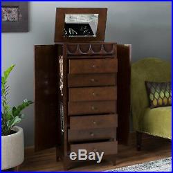Dark Brown Finish Wood Mid Century Modern Freestanding Jewelry Armoire Cabinet