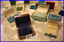 Deco Vintage Celluloid Leather Push Button Jewelry Ring Boxes Lot Display