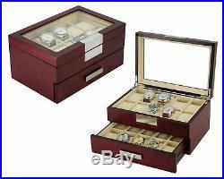 DecoreBay Executive Cherry Oak Wood 20 Slot Watch Box and Jewelry Box Storage