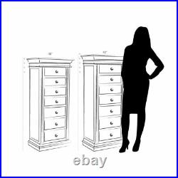 Distressed Black Jewelry Armoire with Mirror Large Wood Cabinet Storage Organizer