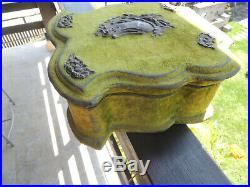 Divine Antique French Green Velvet Sewing jewelry Box With Brass Decoration