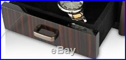 Double Watch Winder Box with Jewelry Storage Drawer Carbon Fiber Paul Design