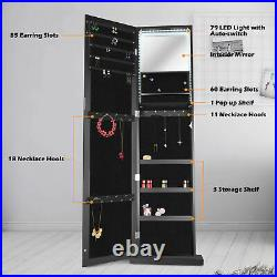 ENSTVER Jewelry Cabinet Armoire Standing Wall Organizer with Full Length Mirror