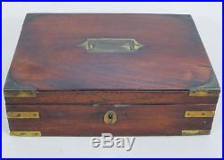 EXCELLENT GEORGIAN ANTIQUE BRASS BOUND MAHOGANY JEWELLERY BOX 1800 casket