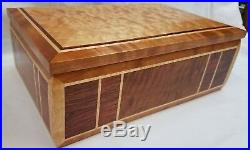 EXOTIC WOOD BOX, QUILTED MAPLE, BUBINGA, CHERRY and MAPLE, JEWELRY BOX, GALLERY