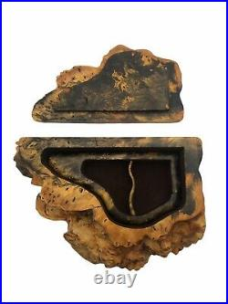 Eberle Vintage Burl Wood Live Edge Handcrafted Wooden Jewelry Trinket Box