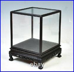 Ebony Wood Trim Display Cover Transparent Glass Doll Antique Jewellery Box Decor