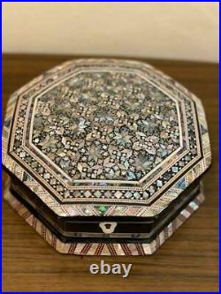 Egyptian Handmade Curving Wood Jewelry Box Inlaid Mother of Pearl (8x8)