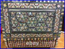 Egyptian Handmade Wood Jewelry Box Inlaid Mother of Pearl (11X7.4)