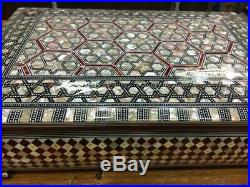 Egyptian Handmade Wood Jewelry Box Inlaid Mother of Pearl (12.8X8.8)