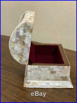 Egyptian Handmade Wood Jewelry Box Inlaid Mother of Pearl (6x4.4)