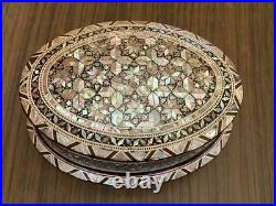 Egyptian Handmade Wood Jewelry Box Inlaid Mother of Pearl (7.6x5.6)