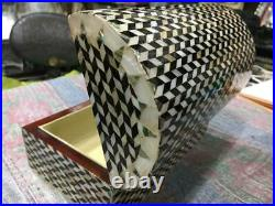 Egyptian Handmade Wood Jewelry Box Inlaid Mother of Pearl (8.4x5)