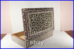 Egyptian Handmade Wood Jewelry Box Inlaid Natural Mother Of Pearl (13.7 × 9.8)