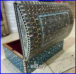 Egyptian Jewelry Box Handmade Inlaid Mother of Pearl (10.8x7.2)
