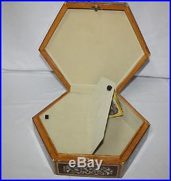 Egyptian Mother of Pearl Large Hexagonal Paua Inlaid Jewelry Box 13X14.8 #592