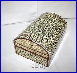 Egyptian Mother of Pearl Paua Inlaid Jewelry Box 14 X 9.6 Treasure Stars #571