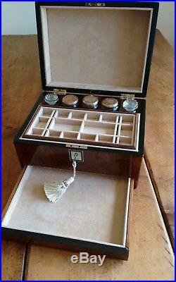 English Antique Figured Burr Walnut Vanity Jewellery Box Collectors Box