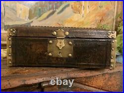 English Early Leather & Brass Studded Box C 1820 Rare Top Box for Jewelry Key