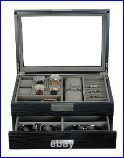 Executive Hand made Cufflink Case & Ring Storage Organizer Jewelry Box Gift