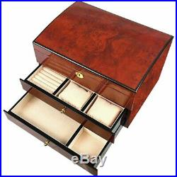 Extra Large Laminated Makah Burlwood Jewellery Chest with 2 Drawers and Trays