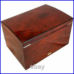 Extra Large Makah Burl Wood Jewellery Chest with 2 Drawers and Trays